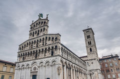 San Michele in Foro, a church in Lucca, Italy. San Michele in Foro, a Roman Catholic basilica church built over the ancient Roman forum in Lucca, Tuscany Stock Image