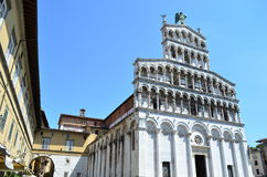 San Michele in Foro Church in Lucca - Italy. The romanesque style of the church of San Michele in Foro in Lucca Royalty Free Stock Photos
