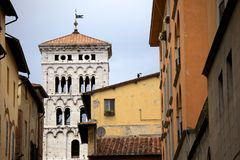 San Michele in Foro church in Lucca. A view of one of Lucca's churches, Italy royalty free stock image