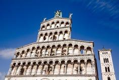 San Michele in foro kyrkafasad Tuscany Italien Royaltyfria Foton