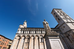 San Michele in Foro - Lucca Italy. Church of San Michele in Foro and the statue of Francesco Burlamacchi in the ancient town of Lucca, Toscana Tuscany, Italy Stock Photography