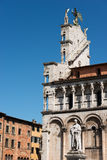 San Michele in Foro - Lucca Italy. Detail of the church of San Michele in Foro and the statue of Francesco Burlamacchi in the ancient town of Lucca, Toscana Stock Photography