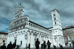 San Michele in Foro. Medieval church. Lucca. Italy. Aged photo. Royalty Free Stock Images