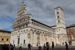 San Michele in Foro. Medieval church. Lucca. Italy. stock photos