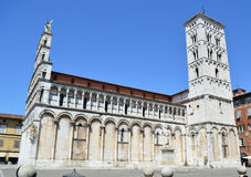 San Michele i den Foro kyrkan i Lucca - Italien Arkivfoto