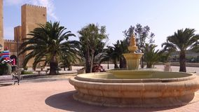 Castle in Spain with fountain. San Miguel, Alicante, Spain - June 09 2019 : the Castle de Conesa, which is actually a fake Nazari castle, built as a tourist stock video