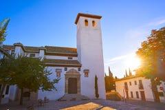 San Miguel Bajo kościół w Granada Albaicin fotografia royalty free