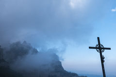 San Miguel Cross at the monastery of Santa Maria de Montserrat i Royalty Free Stock Photo
