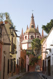 San Miguel de Allende. Street with rear view of Cathedral at San Miguel de Allende Royalty Free Stock Image