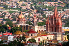 San Miguel de Allende aerial. Aerial view of the churches of san miguel de allende guanajuato, in mexico Stock Photos