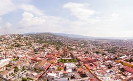 San Miguel de Allende Aerial shot. Downtown San Miguel de Allende Aerial panoramic view, sunny day stock photo