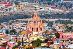 San Miguel de Allende. San Miguel de Allende, a colonial city in Mexico central highlands, is known for its baroque Spanish architecture, thriving scene and royalty free stock image