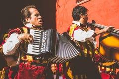 SAN MIGUEL DE ALLENDE, GUANAJUATO / MEXICO - 06 15 2017: Musicians at a traditional mexican Callejoneada. Musicians at a traditional mexican Callejoneada in royalty free stock photos