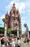 San Miguel de Allende. Image of the Parroquia Main church at San Miguel de Allende, Guanajuato, Mexico. Wedding and Mariachi royalty free stock image