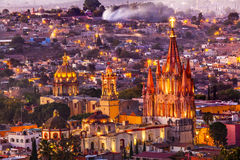 San Miguel de Allende Mexico Miramar Overlook Evening Parroquia Stock Photo