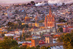 San Miguel de Allende Mexico Miramar Overlook Evening Parroquia Royalty Free Stock Photo