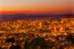 San Miguel de Allende Mexico Miramar Overlook Evening Parroquia. San Miguel de Allende, Mexico, Miramar, Overlook Parroquia Archangel Church Close Up, Churches Royalty Free Stock Images