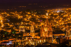 San Miguel de Allende Mexico Miramar Overlook Night Parroquia Royalty Free Stock Image