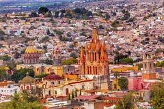 San Miguel de Allende Mexico Miramar Overlook Parroquia. San Miguel de Allende, Mexico, Miramar Overlook Parroquia Archangel Church Churches Houses royalty free stock photography