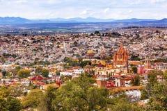 San Miguel de Allende Mexico Miramar Overlook Parroquia. San Miguel de Allende, Mexico, Miramar, Overlook Parroquia Archangel Churches Houses royalty free stock image