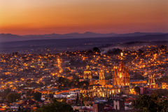 San Miguel de Allende Mexico Miramar Overlook Sunset Parroquia Royalty Free Stock Images