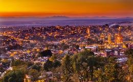San Miguel de Allende Mexico Miramar Overlook Wide Evening. San Miguel de Allende, Mexico, Miramar Overlook Parroquia Archangel Church Wide, Churches Houses stock photos