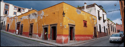 San Miguel Street Corner Series. The streets of San Miguel de Allende, Guanajuato, Mexico, provide exotic sense of color and place in the mountains of Central Stock Photography