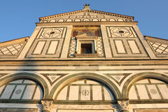 San Miniato al Monte in Florence. Facade of San Miniato al Monte in Florence, warm sunset light shot Royalty Free Stock Photography