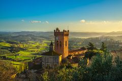 San Miniato bell tower of the cathedral. Pisa, Tuscany Italy Eur. San Miniato town panoramic view, bell tower of the Duomo cathedral and countryside. Pisa Royalty Free Stock Image