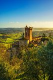 San Miniato bell tower of the cathedral. Pisa, Tuscany Italy Eur. San Miniato town panoramic view, bell tower of the Duomo cathedral and countryside. Pisa Stock Images