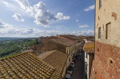 San Miniato Italien - sikt från uptownen Fotografering för Bildbyråer