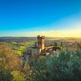 San Miniato bell tower of the cathedral. Pisa, Tuscany Italy Eur. San Miniato town panoramic view, bell tower of the Duomo cathedral and countryside. Pisa Stock Image
