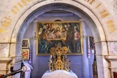 San Nicholas Church Kiev Ukraine della pittura di ultima cena dell'altare Fotografie Stock
