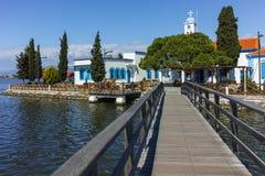 San Nicholas Monastery individuato su due isole a Oporto Lagos vicino alla città di Xanthi, Grecia immagini stock libere da diritti