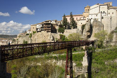 San Pablo bridge and hung houses of Cuenca, Spain Royalty Free Stock Photos