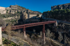 San Pablo bridge and Parador de Cuenca. Saint Paul monastery in Royalty Free Stock Photography