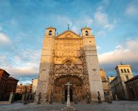 San Pablo Church in Valladolid at dusk. Main facade of San Pablo Church in Valladolid, Spain, an Isabelline Gothic-Plateresque church built by Cardinal Juan de Royalty Free Stock Image