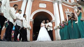 Wedding Couple, Bride And Groom release doves. San Pablo City, Laguna, Philippines – December 19, 2016: Wedding Couple, Bride And Groom release doves and kiss stock video footage