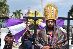 Roman governor marching on street, street drama, community celebrates Good Friday representing the events that led to the Crucifix. San Pablo City, Laguna royalty free stock images