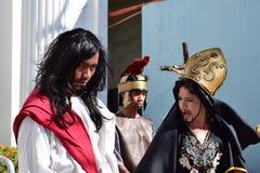 Lenten drama presentation, Christ brought to trial,. San Pablo City, Laguna, Philippines - April 14, 2017: Street Lenten drama presentation, Christ brought to Royalty Free Stock Image