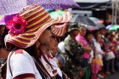 Female spectaror watching cultural dancers perform along the road stock photo
