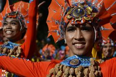 Male Street dancer in colorful coconut costumes join festival. SAN PABLO CITY, LAGUNA, PHILIPPINES - JANUARY 13, 2017 Male Street dancer in colorful coconut Stock Photos