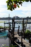 Unkempt, weather damaged lake foot bridge environmental issues that destroy lake. San Pablo City, Laguna, Philippines - January 21, 2017: unkempt, weather Royalty Free Stock Photography