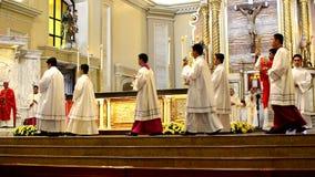 Roman Catholic altar Mass Ritual introduction. San Pablo City, Laguna, Philippines - October 20, 2016: Roman Catholic opening Ritual introduction for priests stock video footage