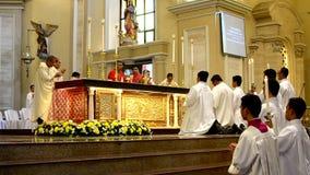 Roman Catholic altar Mass Ritual introduction. San Pablo City, Laguna, Philippines - October 20, 2016: Roman Catholic opening Ritual introduction for priests stock footage