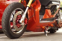 Close up of  big motorcycle front wheel, focus tyre. San Pablo City, Laguna, Philippines - September 12, 2015: close up of  big motorcycle front wheel, focus Royalty Free Stock Photo
