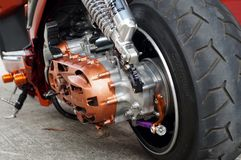 Close up of vintage motorcycle rear wheel, focus tire. San Pablo City, Laguna, Philippines - September 12, 2015: close up of vintage motorcycle rear wheel, focus Royalty Free Stock Image