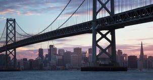 San panoramico Francisco Skyline Sunset alla notte stock footage