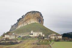 San Pantaleon de Losa, Castilla y Leon, Spain. San Pantaleon de Losa, Burgos, Castilla y Leon, Spain, in a cloudy day royalty free stock image