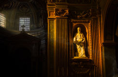 San paolo statue. Statue of Saint Paul in a church with side and soft light Royalty Free Stock Photos